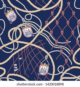 Seamless vector background pattern. Will tile endlessly. Fashionable pattern in marine style with rope.