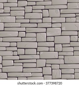 Seamless vector background of rectangular stones wall building with different sized cracked bricks (in grey tone).