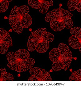 Seamless vector background, red hibiscus flowers on black background.