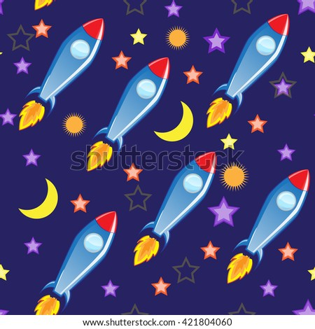 Seamless Vector Background Space And Missiles Wallpaper TextilesFor Children