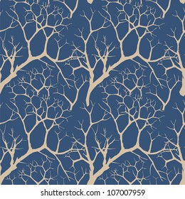 seamless vector background with trees without  leaves on dark blue sky