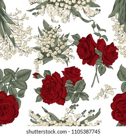 Seamless vector background. Vintage illustration. Flowers. Roses and lilies of the valley.