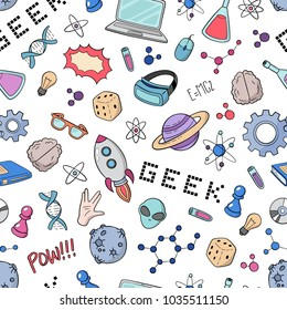 Seamless vector background, wallpaper, texture, backdrop pattern. Set of doodle cartoon icons geek, nerd, gamer. Template for packing, printing, cards, invitation, web design
