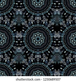 Seamless vector background. Winter Holiday Knitted Pattern with beige, blue and violet Circles, Dots and Snowflakes On a Black Background.