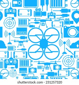 Seamless vector bakground for quadrocopter set. Blue silhouette quadrocopter set elements on white background. Seamless vector pattern.