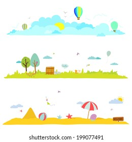 Seamless  vector banners in a cute and cartoon style with place for text. Bright background with funny animals and children. Spring and summer season. Outdoor, beach, sea, garden, sky, grass, tree.