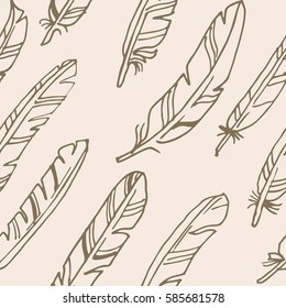 Seamless vector beige feather pattern