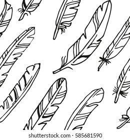 Seamless vector big feather background pattern