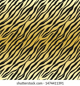 Seamless vector black and gold tiger stripes pattern. Stylish golden wild tiger fur. Animal print background for fabric, textile, design, wrapping, cover.