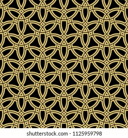Seamless vector black and golden ornament. Modern background. Geometric modern pattern