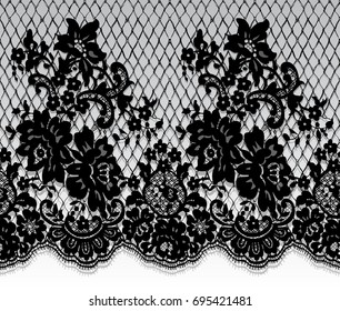Seamless Vector Black Lace Pattern