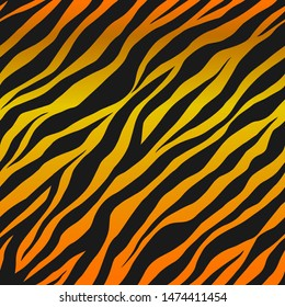 Seamless vector black and orange tiger stripes pattern. Stylish wild tiger fur. Animal print background for fabric, textile, design, wrapping, cover.