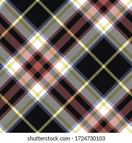 Seamless vector black tartan pattern. Plaid background. Classic fashion wool pattern. For fabric, textile, wrapping, cover etc.