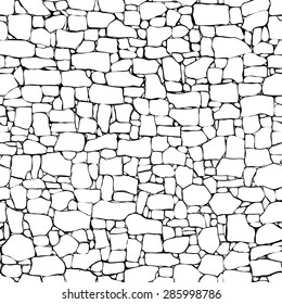 Seamless vector black and white background of stone wall ancient building with different sized bricks (drawn by ink).
