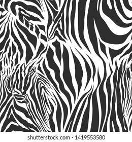 Seamless vector black and white zebra fur pattern. Stylish fashionable wild zebra print. Animal print background for fabric, textile, design, advertising banner.