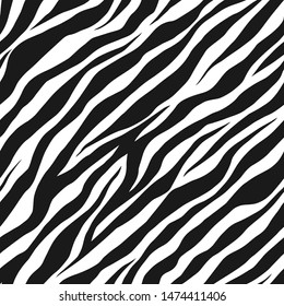 Seamless vector black and white zebra fur pattern. Stylish wild zebra print. Animal print background for fabric, textile, design, advertising banner.