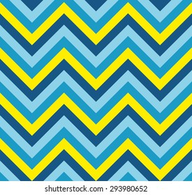 Seamless vector blue and yellow zig zag pattern texture background wallpaper