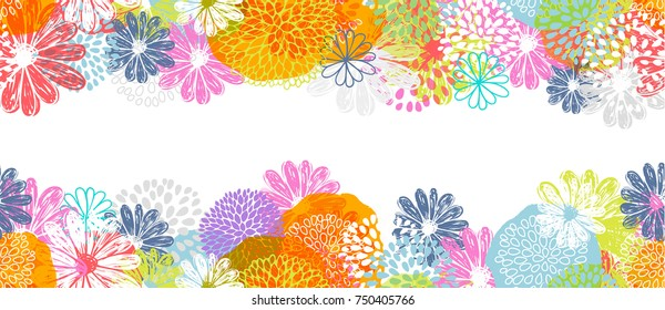 Seamless vector border with lemon, white, blue, pink stylized doodle flowers and place for your text on white background.
