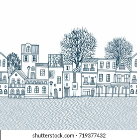 Seamless vector border pattern with old   style houses