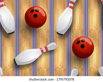 Seamless vector bowling pattern. Bowling track, ball, skittles on the floor. Vector illustration