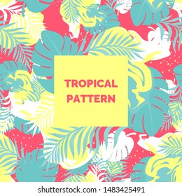 Seamless vector bright blue pink yellow abstract tropic pattern ornament wallpaper