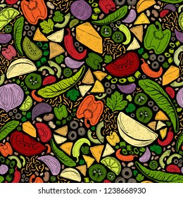Seamless Vector Bright, Bold Nacho, Taco, Burrito, Chips, Cheese, Bean, Garden Veggie Ingredients on Black. Great for backgrounds, gift wrap, wallpaper, home decor, textiles, fabric, farmers markets.