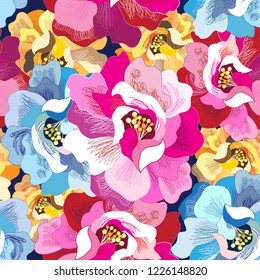 Seamless vector bright multicolored super flowers pattern on a dark background. An example for the design of booklets, business cards and wallpapers