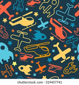 Seamless vector bright pattern for kids. Cartoon transport.
