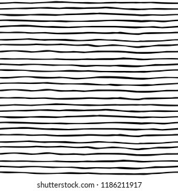 Seamless vector brush stroke pattern. Black and white simple geometric wavy lines abstract background design. Hand drawn vector illustration