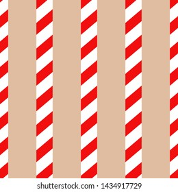 Seamless vector candy cane pattern. Simple design for christmas wrapping, wallpaper, fabric, textile.