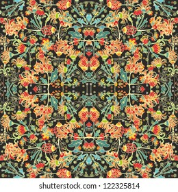 Seamless vector chaotic decorative abstract floral pattern
