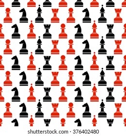 Seamless vector chaotic pattern with black and red chess pieces on the white background. Series of Gaming and Gambling Patterns.