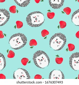 Seamless vector childish pattern with cute watercolor hedgehogs and apples.