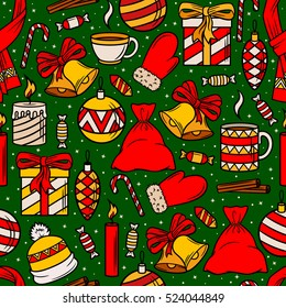 Seamless vector Christmas pattern. Christmas decorations, gifts, sweets and accessories. Print for the new year party. Vector Wallpaper the for New year and Christmas.