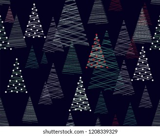 Seamless vector Christmas pattern with stylized spruce trees