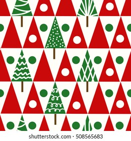 Seamless vector christmas pattern with christmas trees winter geometrical background