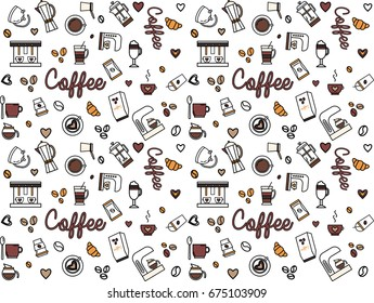 Seamless vector coffee Pattern illustration in linear style