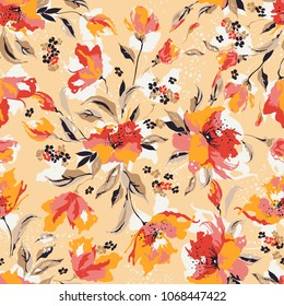 Seamless vector colorful flower pattern background