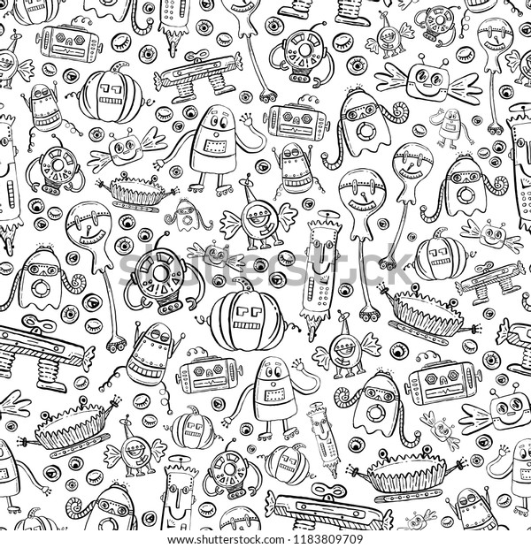 Seamless Vector Coloring Book Outline Pattern Stock ...