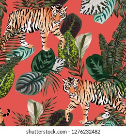 Seamless vector composition realistic tiger in the tropical jungle on the trendy living coral background