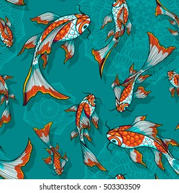 Seamless vector dark blue background with hand drawn koi fishes, pattern for textile or wrap paper