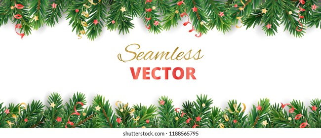 Seamless vector decoration isolated on white. Christmas illustration, winter holiday background.  Gold New Year ornament, ribbon. Christmas tree frame, garland. Border for party banner, poster, header
