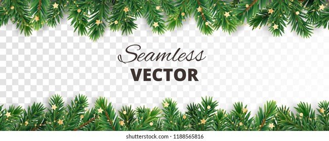 Seamless vector decoration isolated on white. Christmas illustration, winter holiday background. Gold New Year ornament, beads. Christmas tree frame, garland. Border for party banner, poster, header