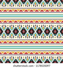 Seamless vector decorative ethnic pattern with geometric ornaments. Background for printing on paper, wallpaper, covers, textiles, fabrics, for decoration, decoupage, scrapbooking and other