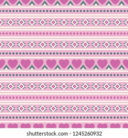 Seamless vector decorative ethnic pattern with romantic ornaments. Background for printing on paper, wallpaper, covers, textiles, fabrics, for decoration, decoupage, scrapbooking and other