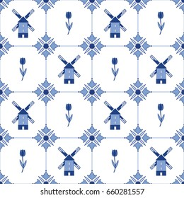 Seamless vector delftware pattern with tulips and mills