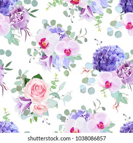 Seamless vector design pattern arranged from pink rose, orchid, violet carnation, purple hydrangea, iris, bell flower, eucalyptus greenery.Beautiful floral print.All elements are isolated and editable