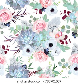 Seamless vector design pattern arranged from pink rose, white anemone, echeveria succulent, orchid flowers, brunia, eucalyptus greenery, black berry. Beautiful floral print. All elements are isolated