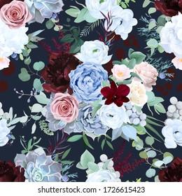 Seamless vector design pattern of dusty blue garden rose, white anemone, camellia, succulent, ranunculus, hydrangea, peony, eucalyptus greenery, burgundy red astilbe. Beautiful floral print.Editable
