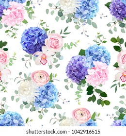 Seamless vector design pattern. Pink and purple hydrangea, orchid, rose, white chrysanthemum, ranunculus, eucalyptus and greenery vector design.Beautiful spring wedding print.All elements are isolated